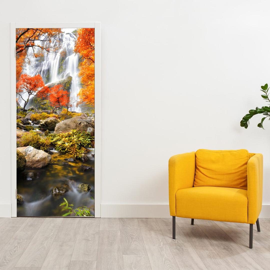Fototapeta na dveře - Vodopád na podzim (D012335D95205)