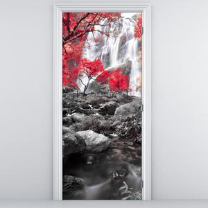 Fototapeta na dvere - Červený ker s vodopádom (D012485D95205)