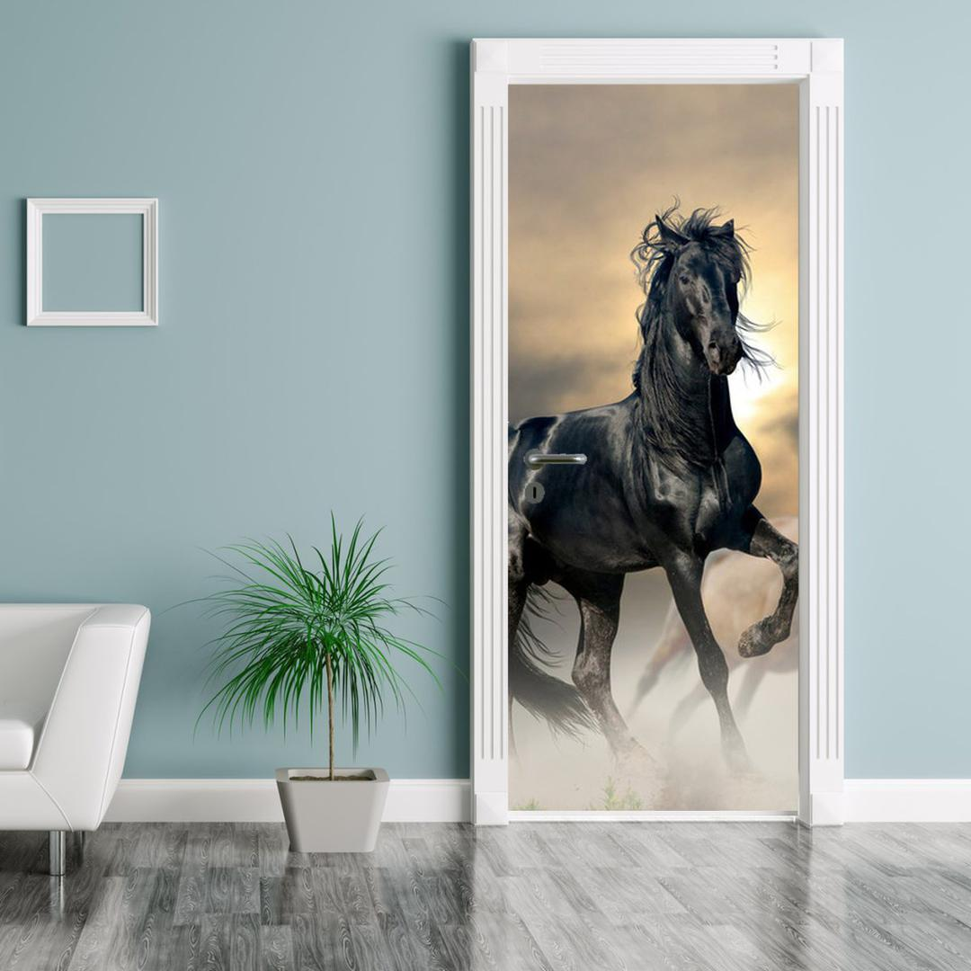 Foto tapeta za vrata - Crni konj (D012491D95205)