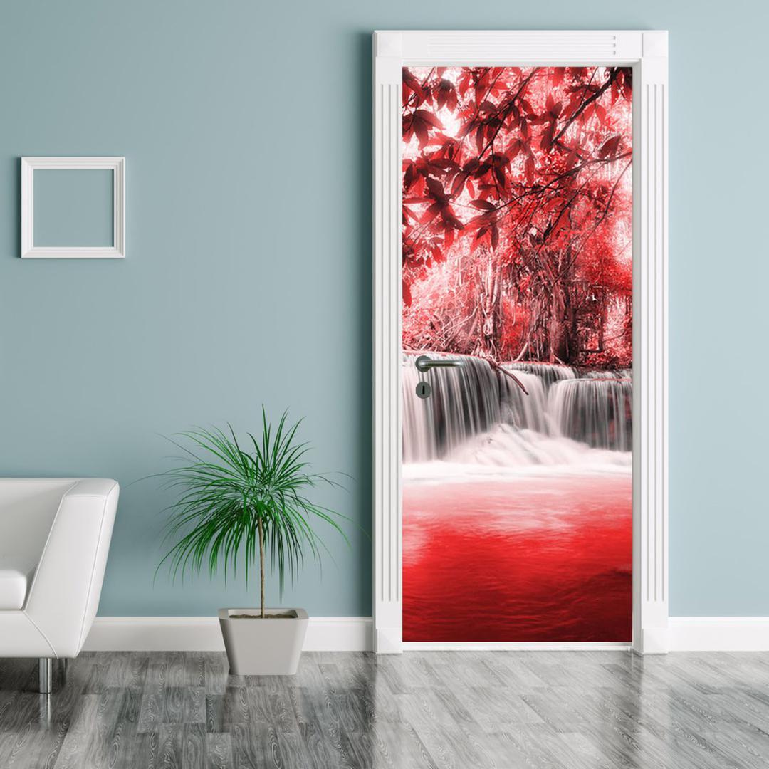 Fototapeta pentru ușă - cascada roșie (D012552D95205)