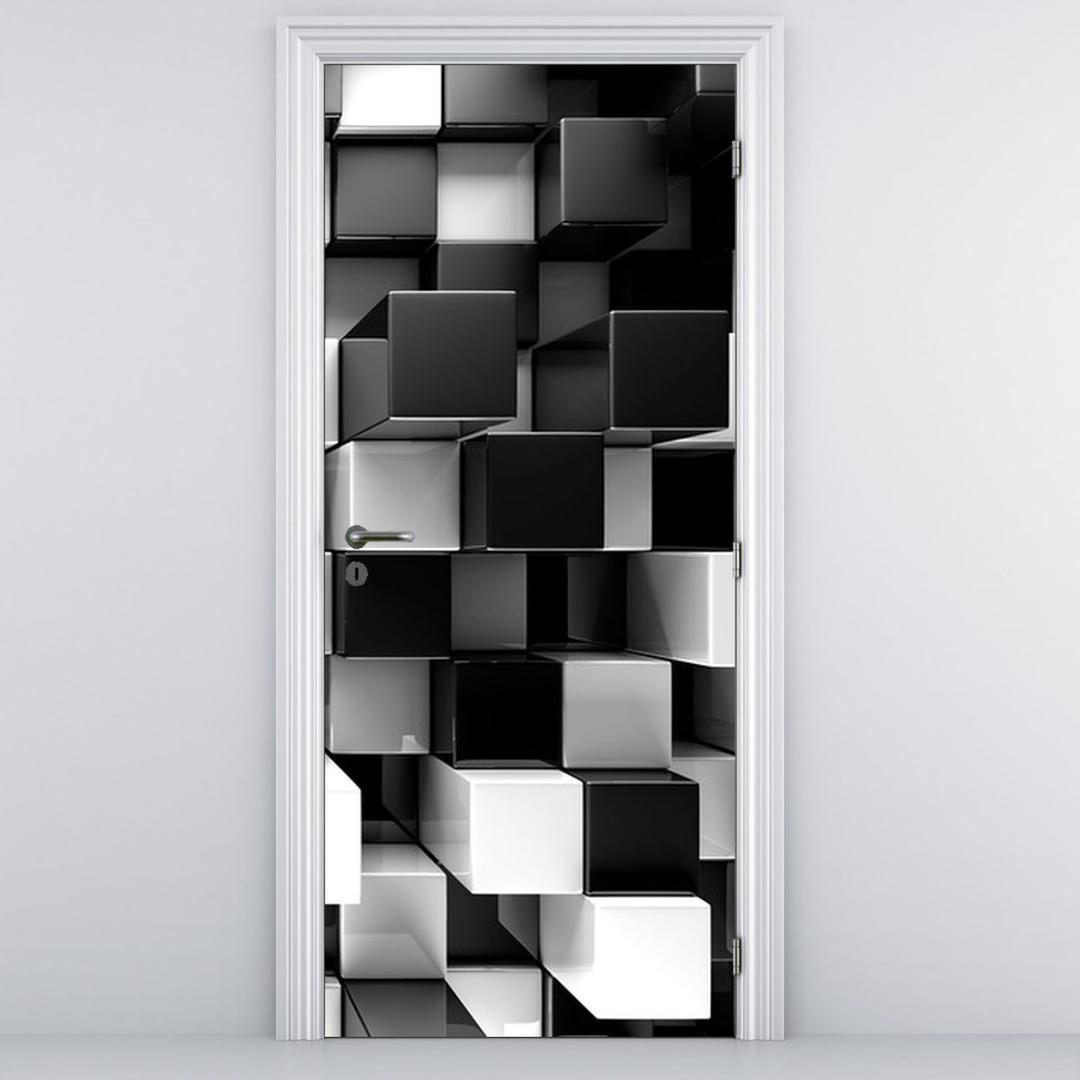 Fototapeta pentru ușă - zaruri albe și negre (D012821D95205)