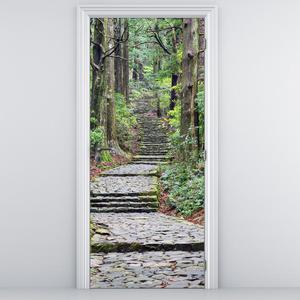 Foto tapeta na vratih - Stopnice v gozdu (D014268D95205)