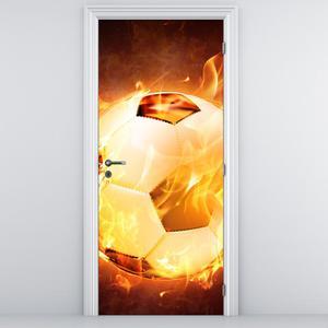 Fototapeta na dveře - Hořící fotbalový míč (D014803D95205)