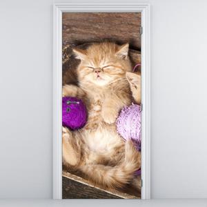Fototapeta pentru ușă - pisicuța cu ghem violet (D014996D95205)