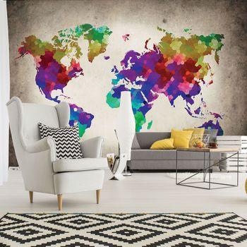 Fotótapéta - A világ színes térképe (T030044T368280A)