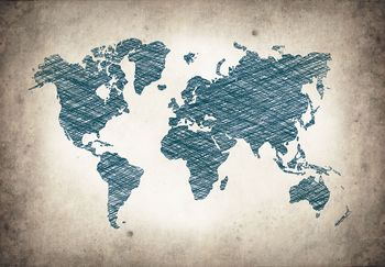Fototapet - Harta lumii - gri albastră (T030045T368280A)