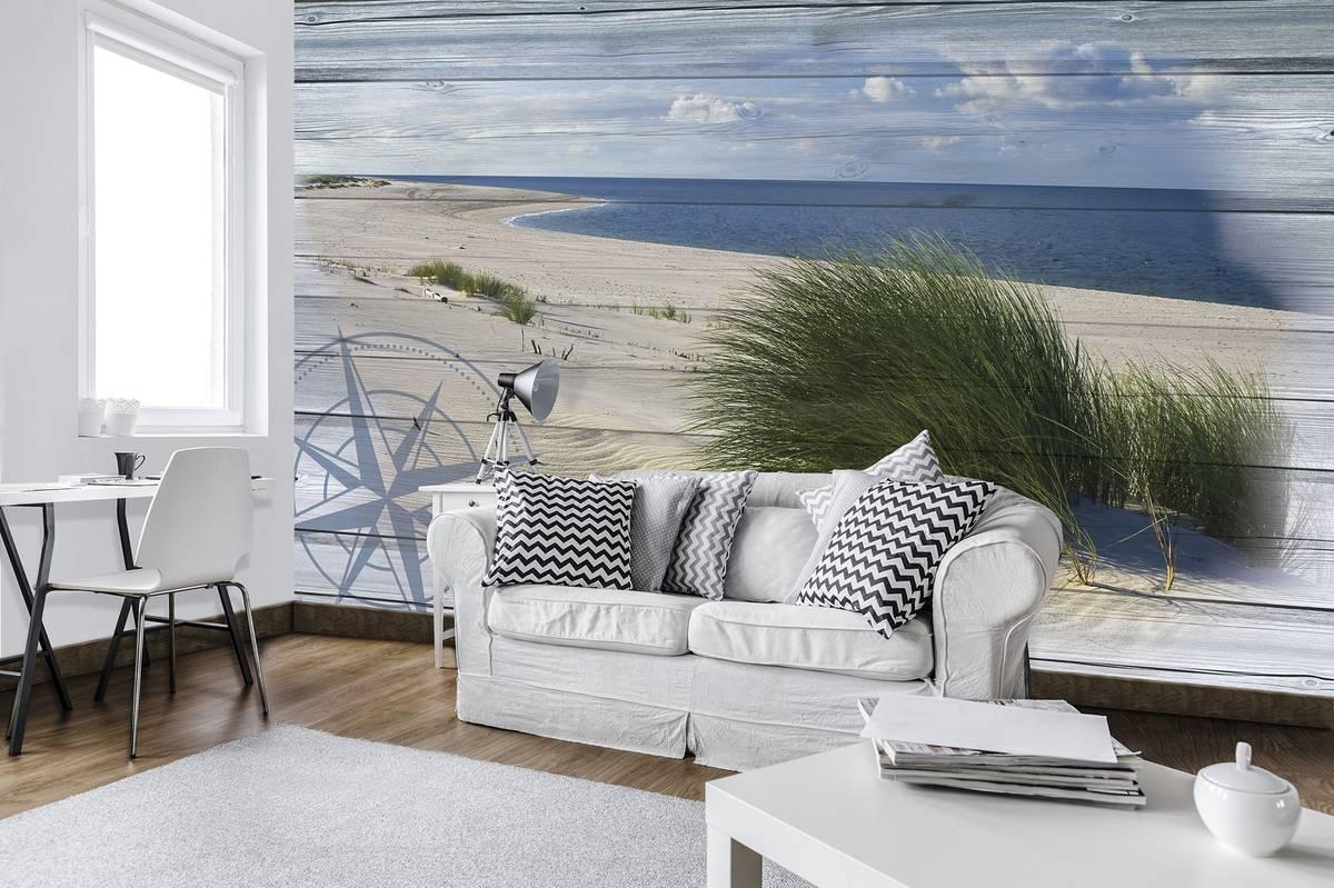 Fototapet - tablou cu plaja - imitația lemnului (T030046T254184A)