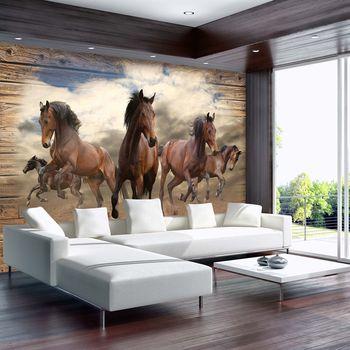Foto tapeta - Konji v galopu na lesenih deskah (T030089T254184A)