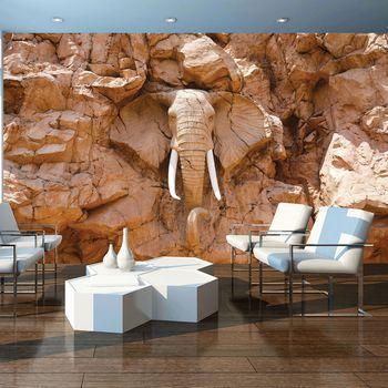 Fototapet - Elefant  sculptat în piatră (T030110T368280A)
