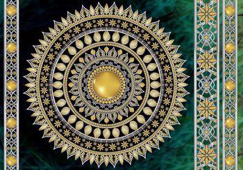 Fototapeta - Zlatá mandala v zelené (T030118T460300A)