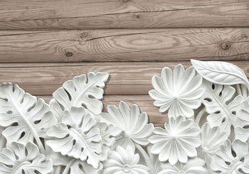 Fototapeta - Alabastrovo biele kvety na drevených doskách (T030134T368280A)