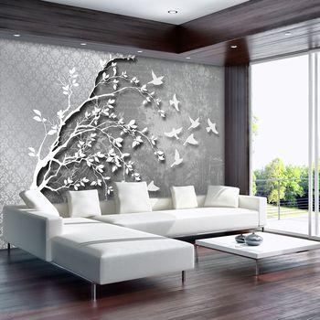 Foto tapeta - Srebrno stablo s pticama (T030202T1525104B)