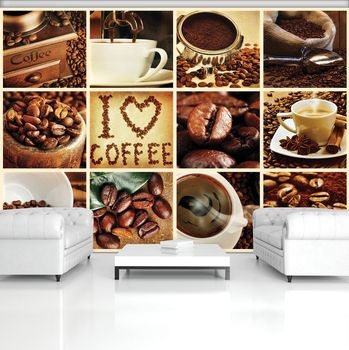 Fototapeta - I love coffee - koláž (T030251T254184A)