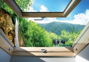 Fototapeta - Pohľad na okno vodopádu a lesa (T030285T460300A)