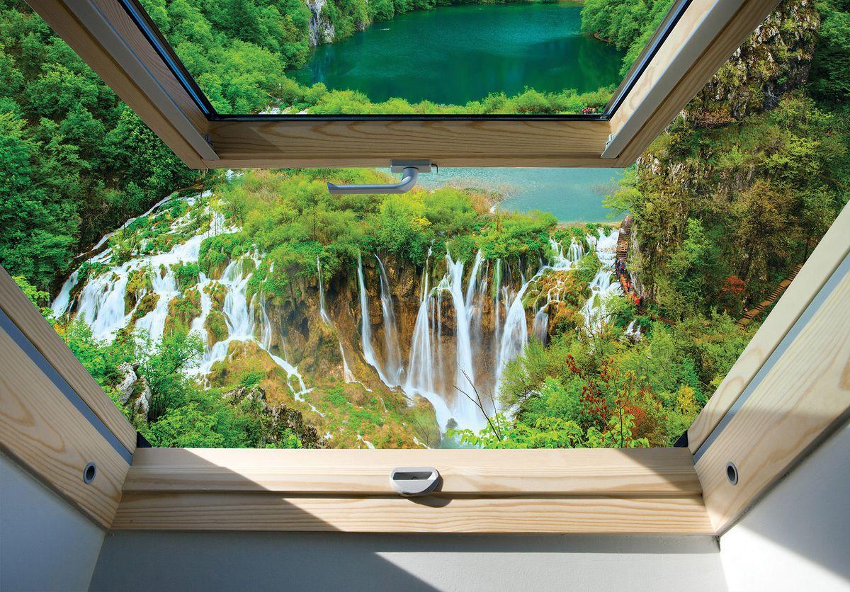Fototapeta - Pohled na okno vodopádu a lesa (T030286T254184B)