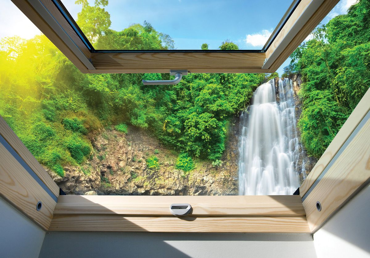 Fototapeta - Pohled na vodopád z okna (T030288T254184B)