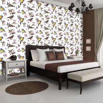Fototapeta - Ptáčci a květinový vzor (T030295T254184A)