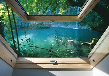 Fotótapéta - Kilátás az ablakból a türkizkék tóra (T030304T368280A)