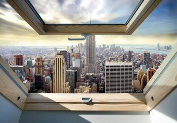 Fototapet - New York - privire panoamatică din geam (T030309T368280A)
