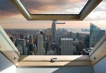 Fototapet - New York - privire panoamatică din geam (T030310T368280A)