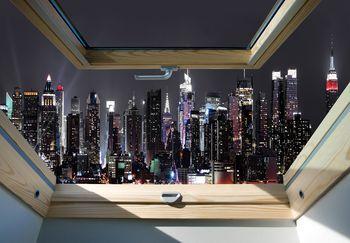 Fototapet - Oraș nocturn  privire din geam (T030311T368280A)