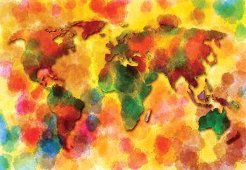 Fototapet - Harta colorată a lumii (T030317T368280A)