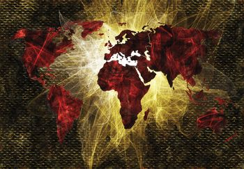 Fototapeta - Mapa sveta červené a zlaté svetlo (T030318T254184A)