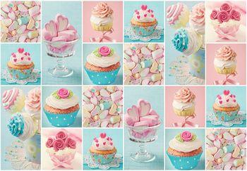 Fototapet - Prăjitură colorată și marshmallows (T030327T368280A)