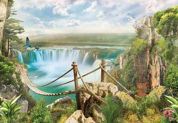 Foto tapeta - Most od konopa preko slapa (T030363T1525104B)