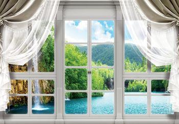 Fototapeta - Výhled z okna na vodopád (T030405T368280A)