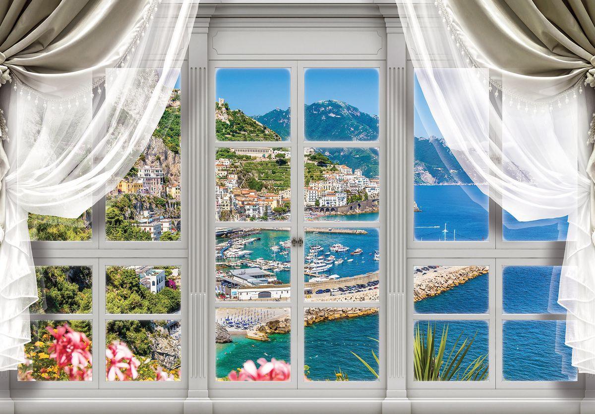 Fototapeta - Pohled z okna na tyrkysový záliv (T030407T1525104B)