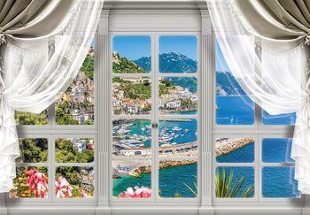 Fototapeta - Pohľad z okna na tyrkysový záliv (T030407T368280A)