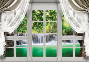 Fototapeta - Pohľad na okno vodopádu (T030408T368280A)