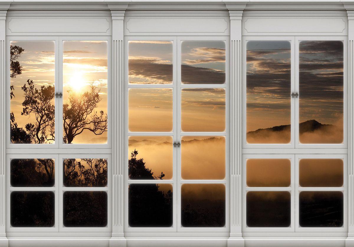 Fototapeta - Výhled z okna zahalený v mlze (T030422T1525104B)