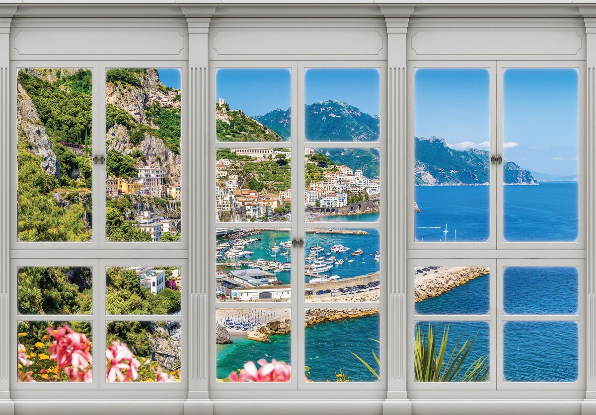 Fototapeta - Tyrkysové moře - výhled z okna (T030423T1525104B)