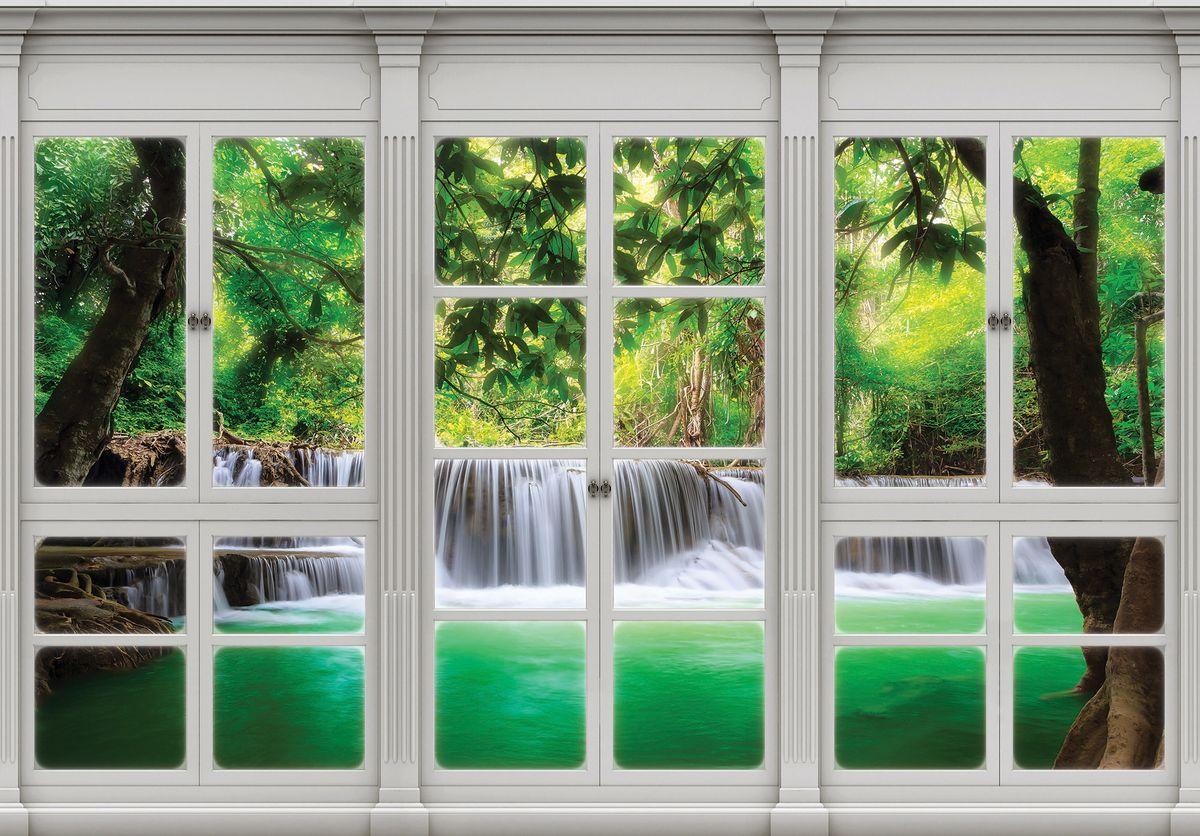 Fototapeta - Pohled z okna na vodopád (T030424T1525104B)