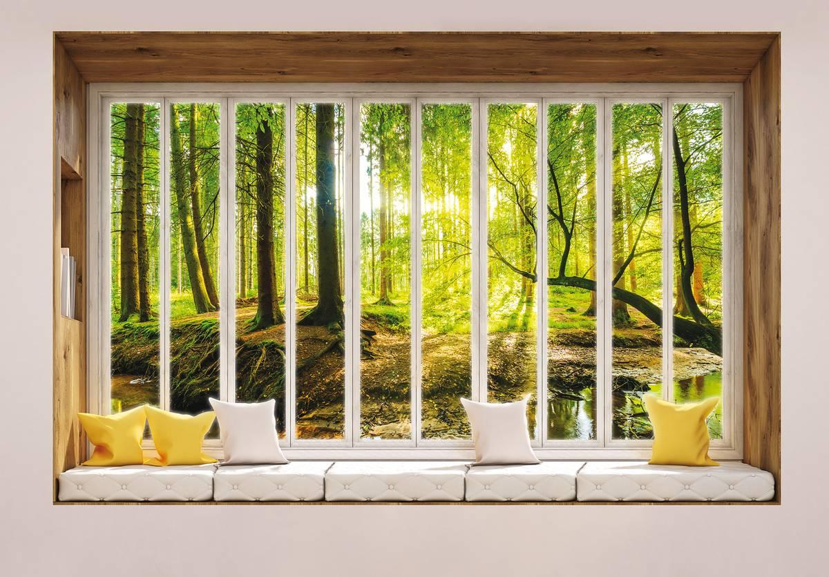 Fototapet - Privire însorită în pădure - geam (T030430T1525104B)