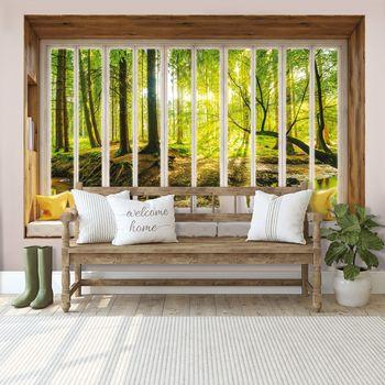 Fototapeta - Slunečný výhed do lesa - okno (T030430T368280A)