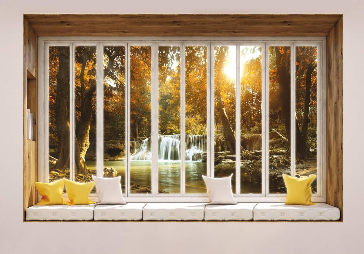Fototapeta - Pohled z okna na vodopád (T030431T1525104B)