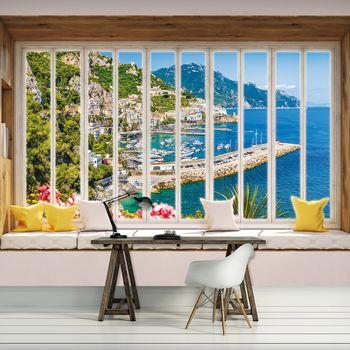 Fototapeta - Pohled z okna na tyrkysový záliv (T030434T368280A)