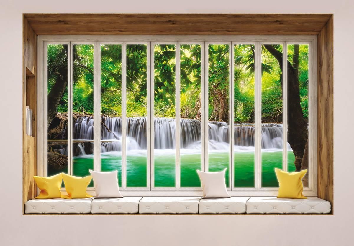 Fototapeta - Pohled z okna na vodopád (T030435T254184B)