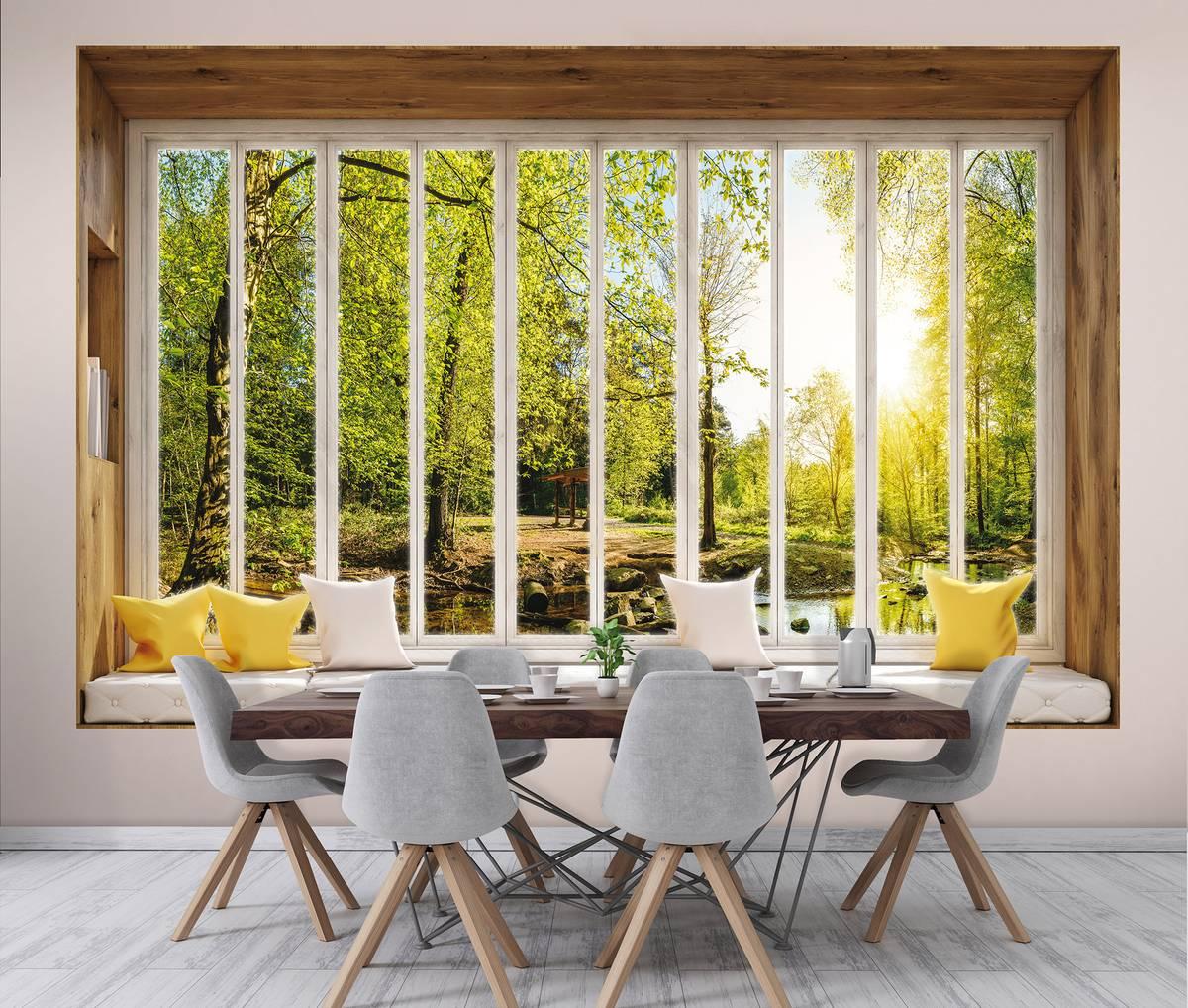 Fototapeta - Slunečný pohled  na stromy z okna (T030441T254184B)