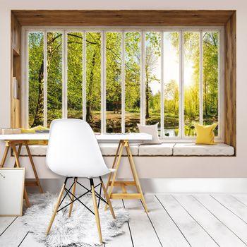 Fototapeta - Slnečný pohľad na stromy z okna (T030441T368280A)