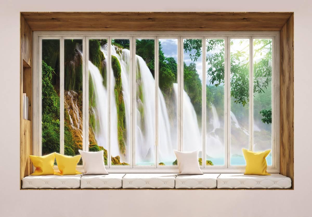 Fototapeta - Výhled z okna na vodopád (T030443T1525104B)