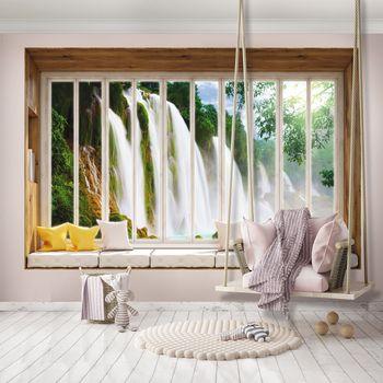 Fototapeta - Výhľad z okna na vodopád (T030443T368280A)