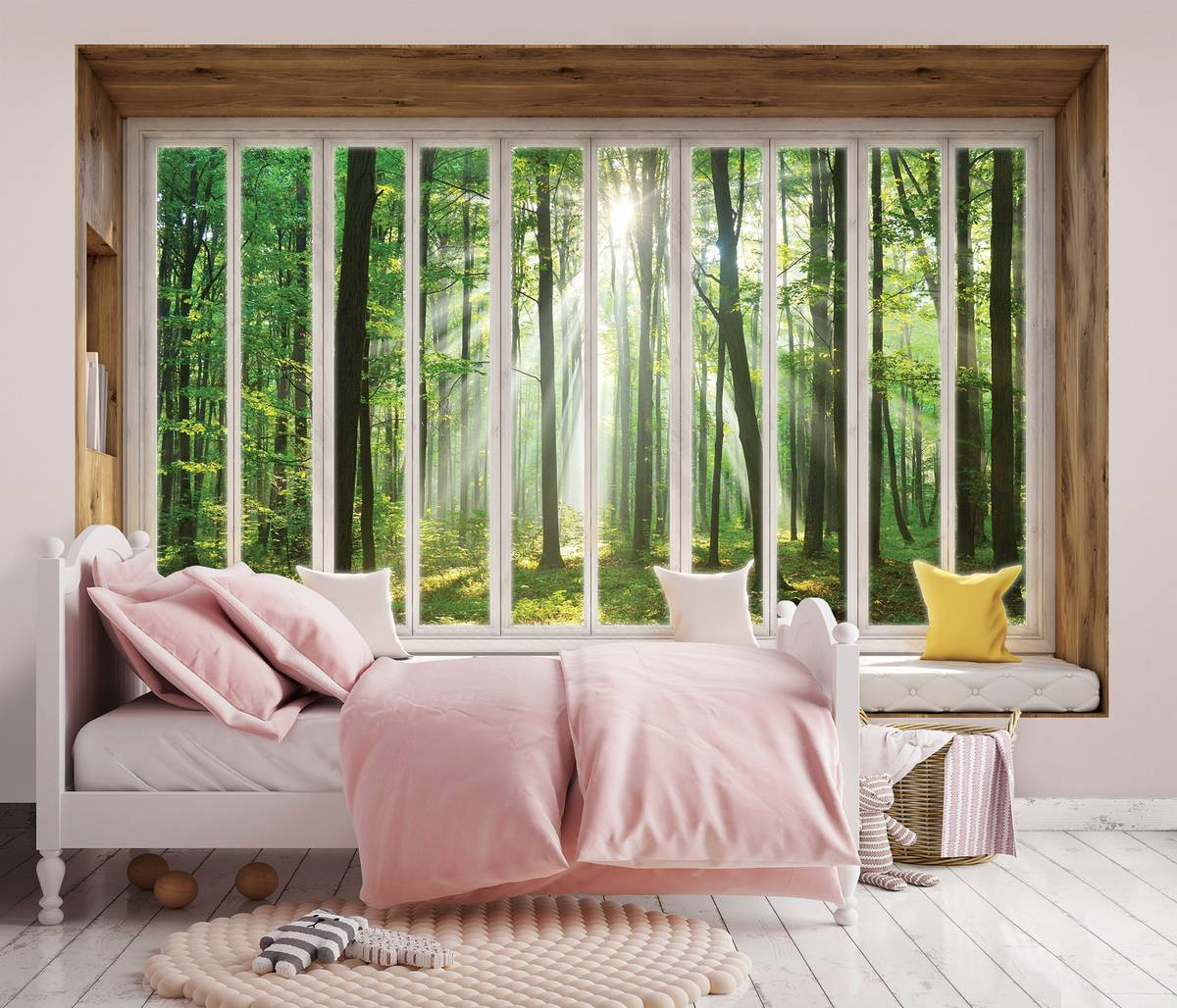 Fototapeta - Výhled z okna na les (T030445T254184B)