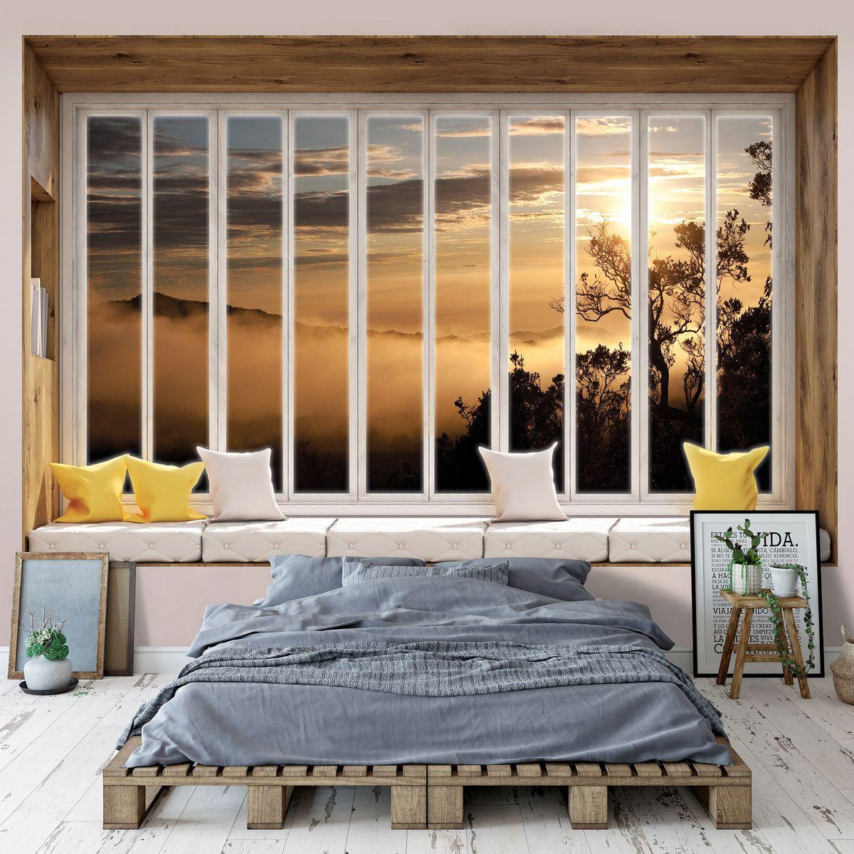 Fototapeta - Hory zahalené v mlze - okno (T030446T1525104B)