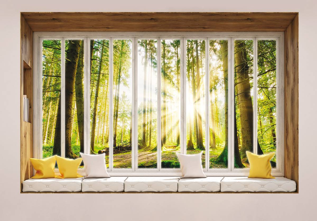 Fototapeta - Výhled z okna na les (T030447T1525104B)