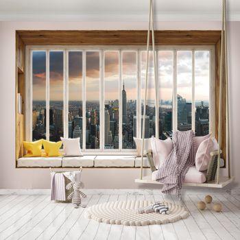 Fototapet - New York - privire din geam (T030448T368280A)