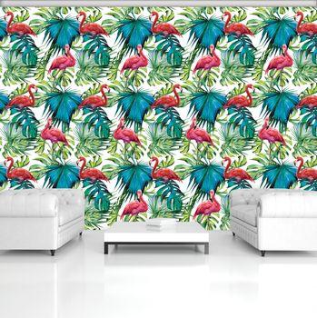 Fototapet - păsări flamingo și frunze (T030747T368280A)